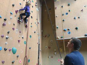 vertouwen, dochter, kind, vader, klimmen